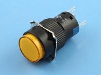 Кнопка с подсветкой LED, 12V, желтая, AD16-121L12-Y