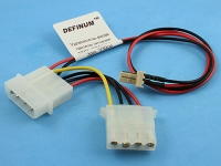 Удлинитель-разветвитель питания HDD->HDD+FAN 12V/GND 3pin, 7/30см, Definum DF-HDD4M-HDD4F-007-FAN3M-030