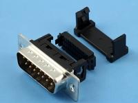 Разъем DI-15M, D-Sub, IDC на шлейф 1.27мм, черный, HSM C0580-15MAASB0