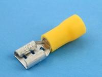 """Клемма ножевая, частично изолированная, """"мама"""", 6.3х0.8мм, 4.00-6.00мм2, под обжим, желтая, КВТ РПИ-М 6.0-(6.3)"""