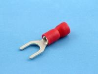 Кабельный наконечник вилочный, частично изолированный, M5, красный, КВТ НВИ 1.5-5