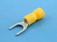 Кабельный наконечник вилочный, частично изолированный, M6, желтый, КВТ НВИ 6.0-6