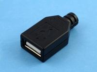 Разъем USB-AF 4pin под пайку на кабель с пластиковой крышкой (гнездо), USBA-FPB