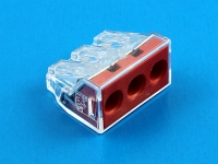Клеммная колодка соединительная пружинная 3 x 2.50-6.00 мм2, 41А, 400В, красный, Wago 773-173