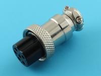 Розетка на кабель, M16-06FC, цилиндрическая, 6pin, прямая, резьба M16, под пайку
