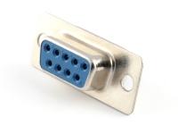 Разъем DB-09F, D-Sub, под пайку, на кабель, синий, HSM C0540-09FAATSL