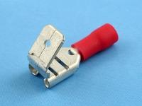 Кабельный наконечник ножевой ответвительный, частично изолированный, 6.3х0.8мм, красный, КВТ РПИ-О 1.5-(6.3)