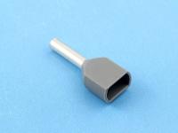 Кабельный наконечник втулочный частично изолированный 0.75мм2 х 2 x 8мм, на 2 провода, КВТ НШВИ(2) 0.75-8