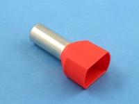 Кабельный наконечник втулочный частично изолированный 10.00мм2 х 2 x 14мм, на 2 провода, КВТ НШВИ(2) 10-14