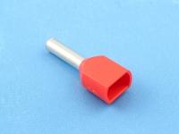 Кабельный наконечник втулочный частично изолированный 1.00мм2 х 2 x 8мм, на 2 провода, КВТ НШВИ(2) 1.0-8