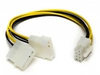 Переходник питания 2xTH-04M - MF-2x04F, 20см, 0.50мм2, Definum DF-2HDD4M-DX8F-020